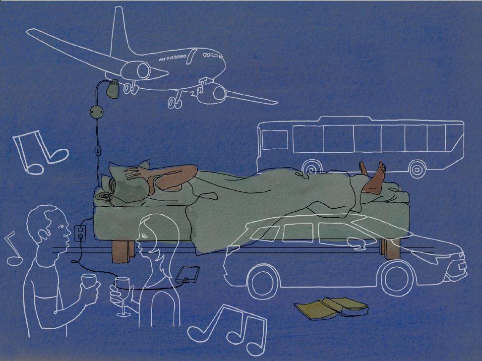 Symbolisk bild av bullerkallor runt person som forsoker sova